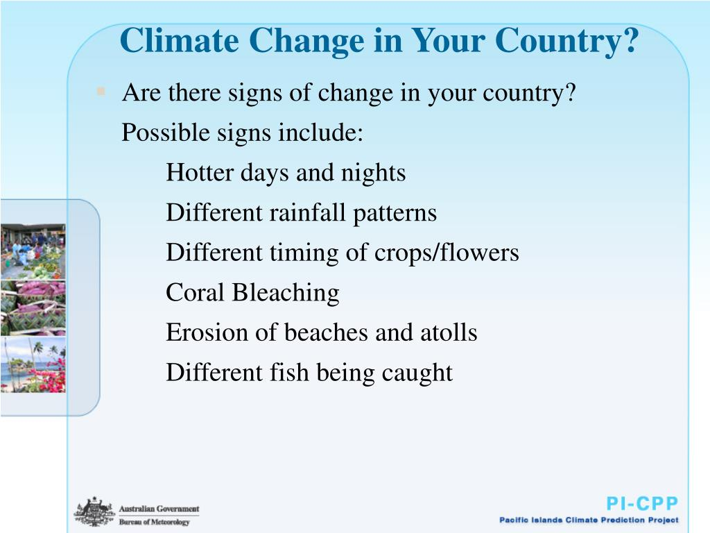 Climate Change in Your Country?
