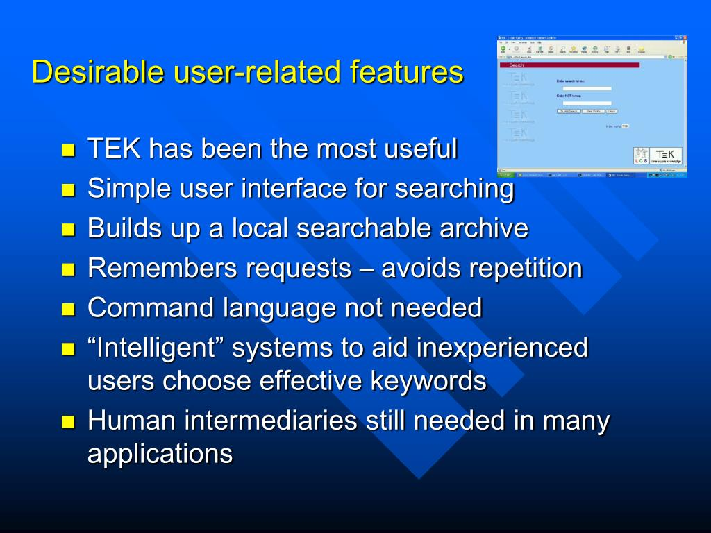 Desirable user-related features