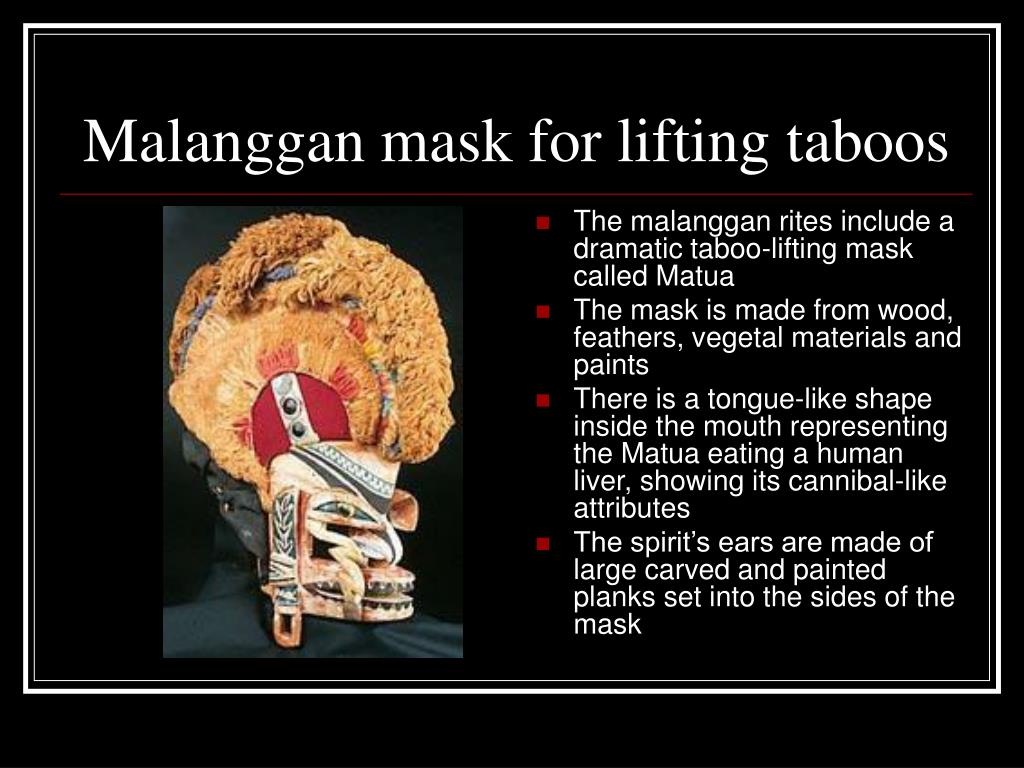 The malanggan rites include a dramatic taboo-lifting mask called Matua