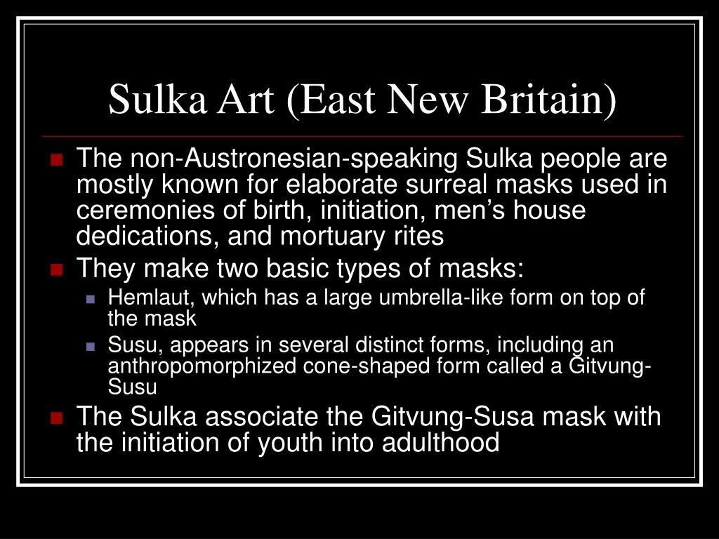 Sulka Art (East New Britain)
