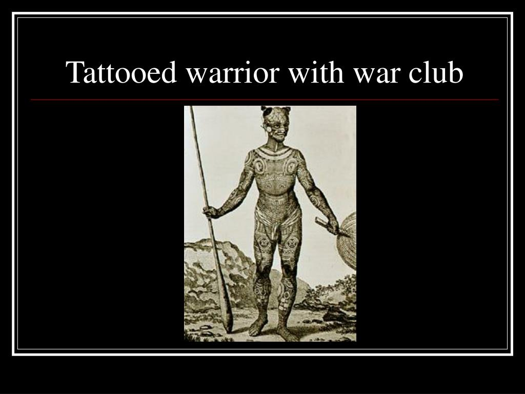 Tattooed warrior with war club
