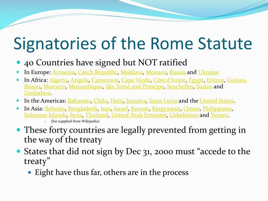 Signatories of the Rome Statute