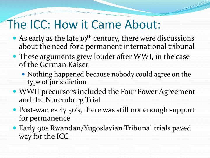 The icc how it came about