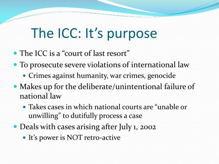 The icc it s purpose