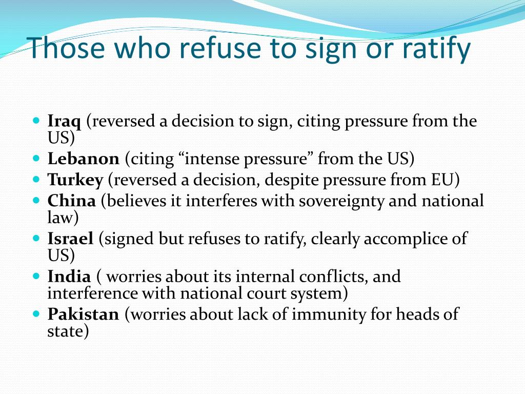 Those who refuse to sign or ratify