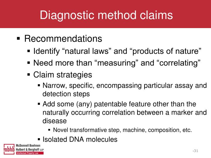 Diagnostic method claims