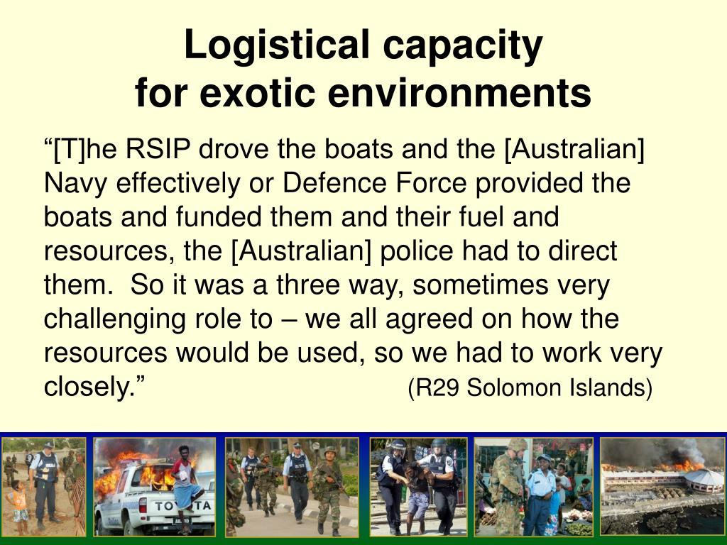 Logistical capacity