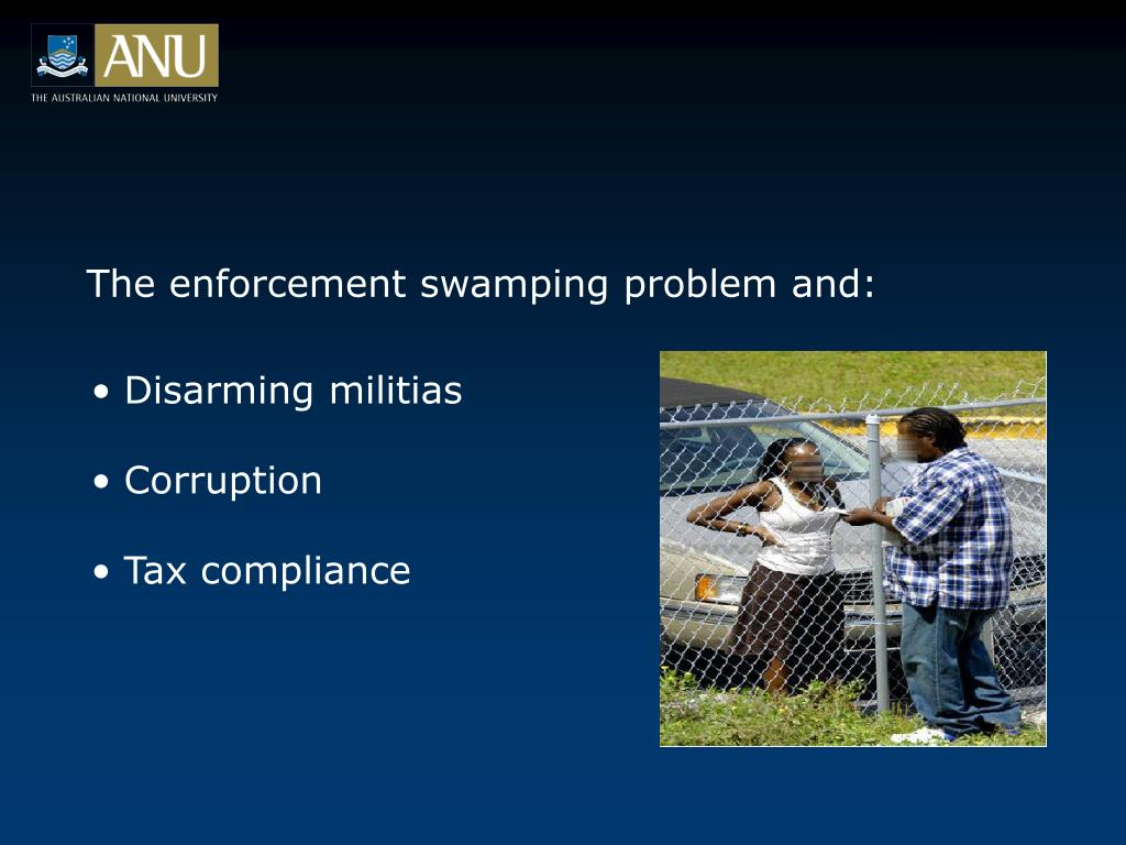The enforcement swamping problem and: