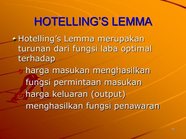 HOTELLING'S LEMMA
