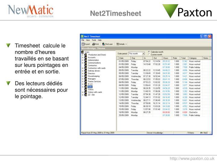 Timesheet  calcule le nombre d'heures travaillés en se basant sur leurs pointages en entrée et en sortie.