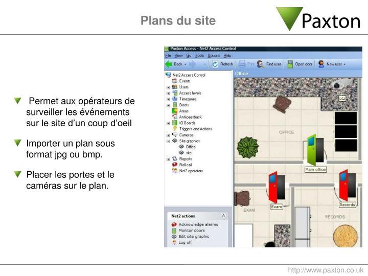 Plans du site