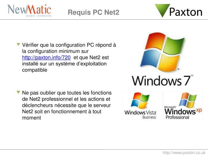 Vérifier que la configuration PC répond à la configuration minimum sur