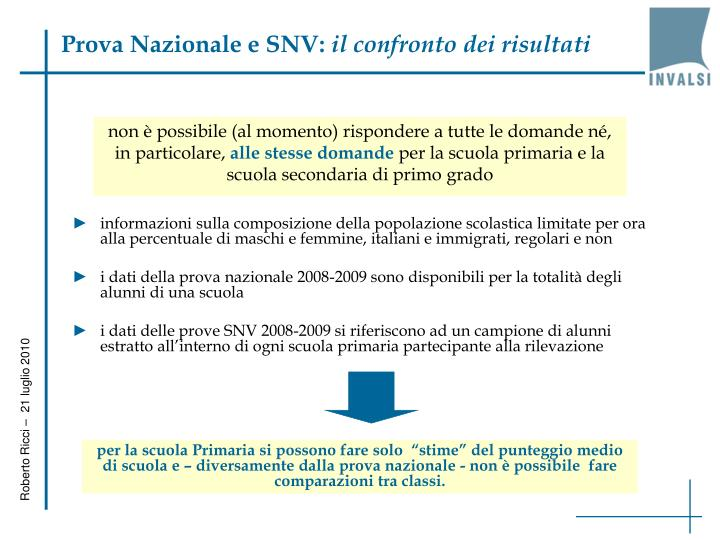 Prova Nazionale e SNV: