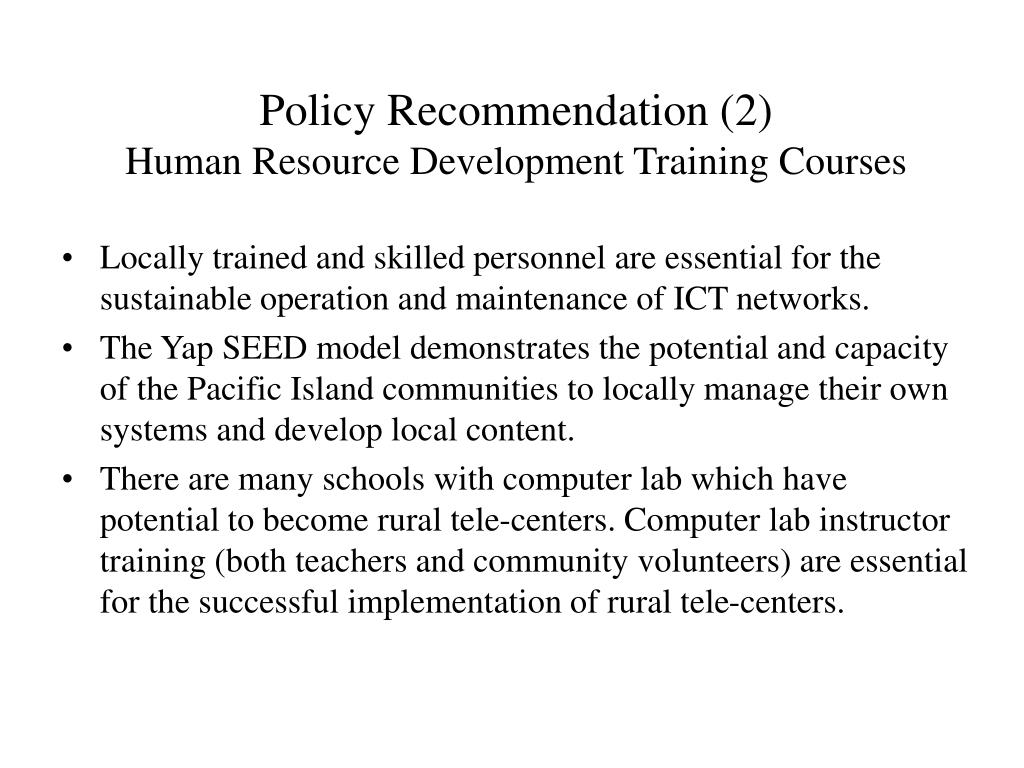 Policy Recommendation (2)