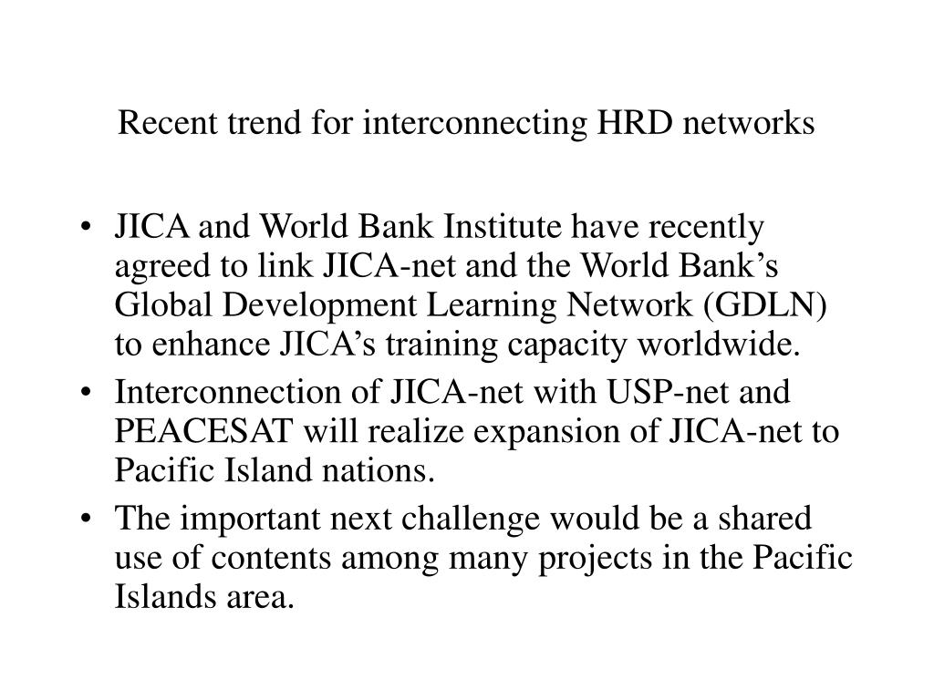 Recent trend for interconnecting HRD networks
