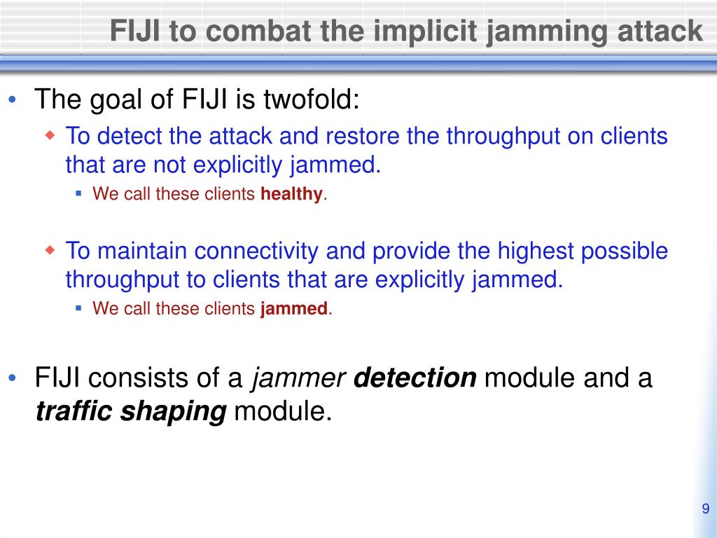 FIJI to combat the implicit jamming attack