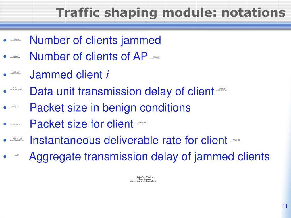Traffic shaping module: notations