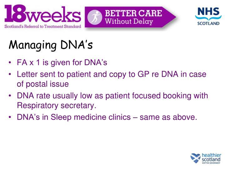 Managing DNA's