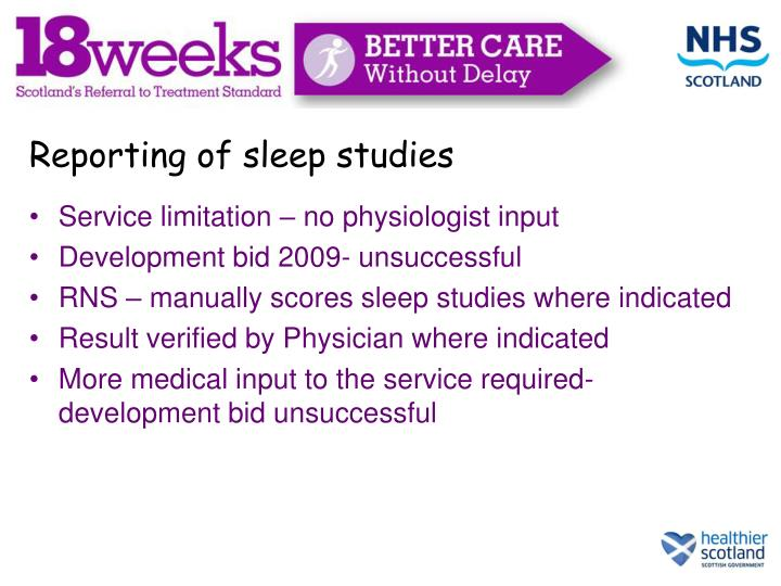 Reporting of sleep studies