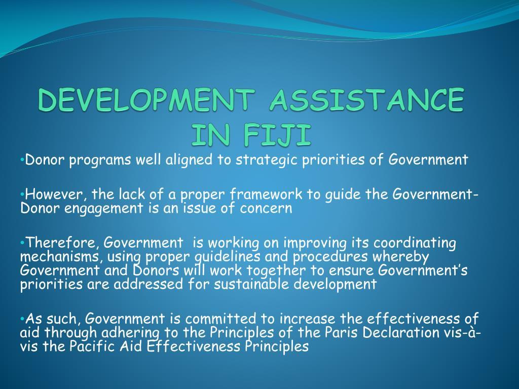 DEVELOPMENT ASSISTANCE IN FIJI