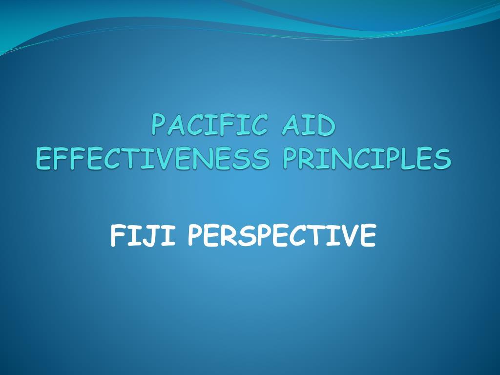 PACIFIC AID EFFECTIVENESS PRINCIPLES