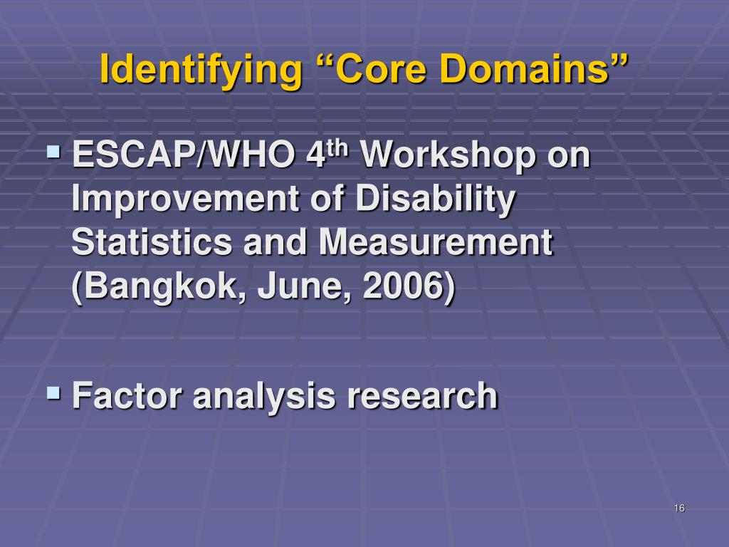 "Identifying ""Core Domains"""
