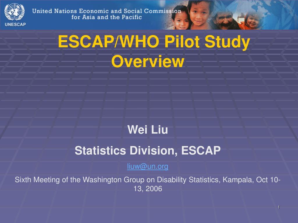 ESCAP/WHO Pilot Study Overview