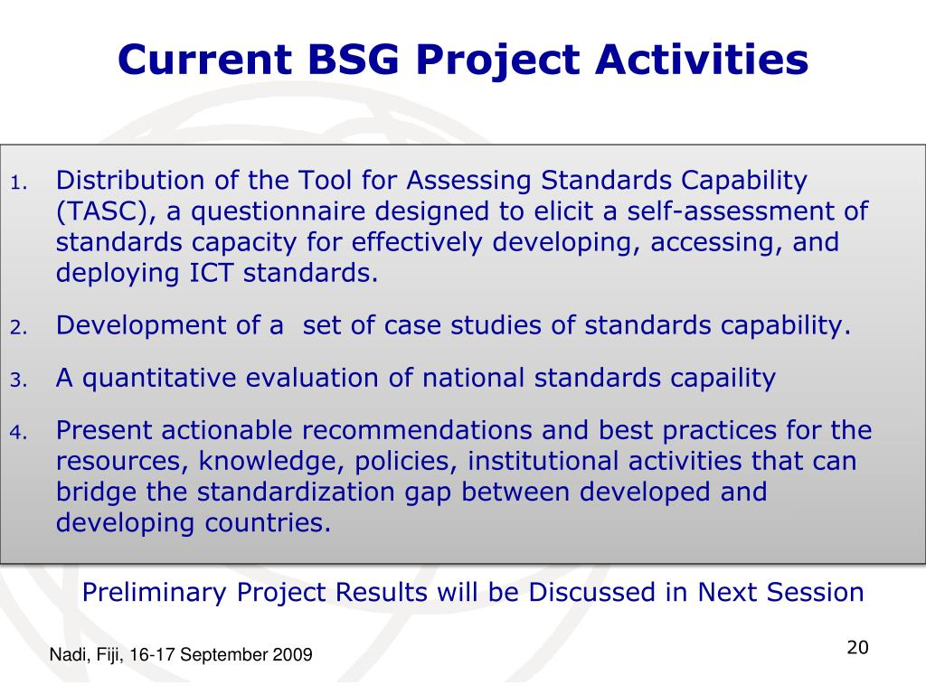 Current BSG Project Activities