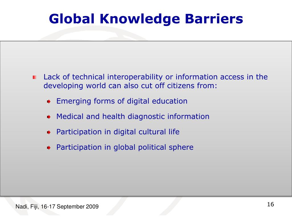 Global Knowledge Barriers