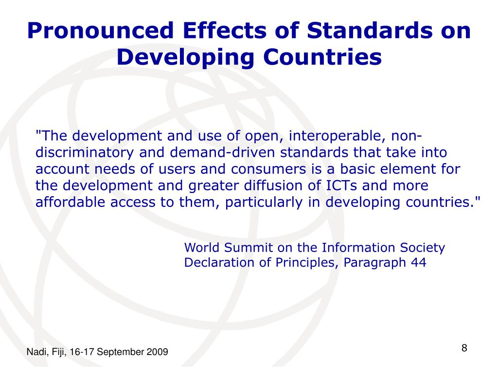 Pronounced Effects of Standards on Developing Countries