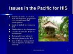 issues in the pacific for his