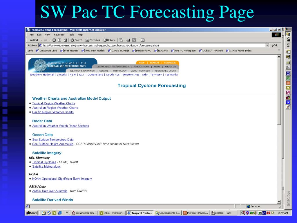SW Pac TC Forecasting Page