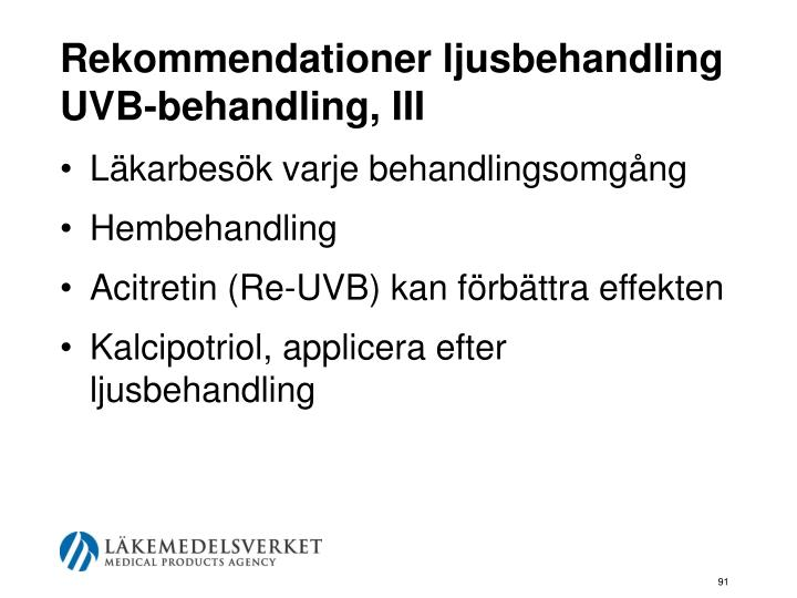Rekommendationer ljusbehandling