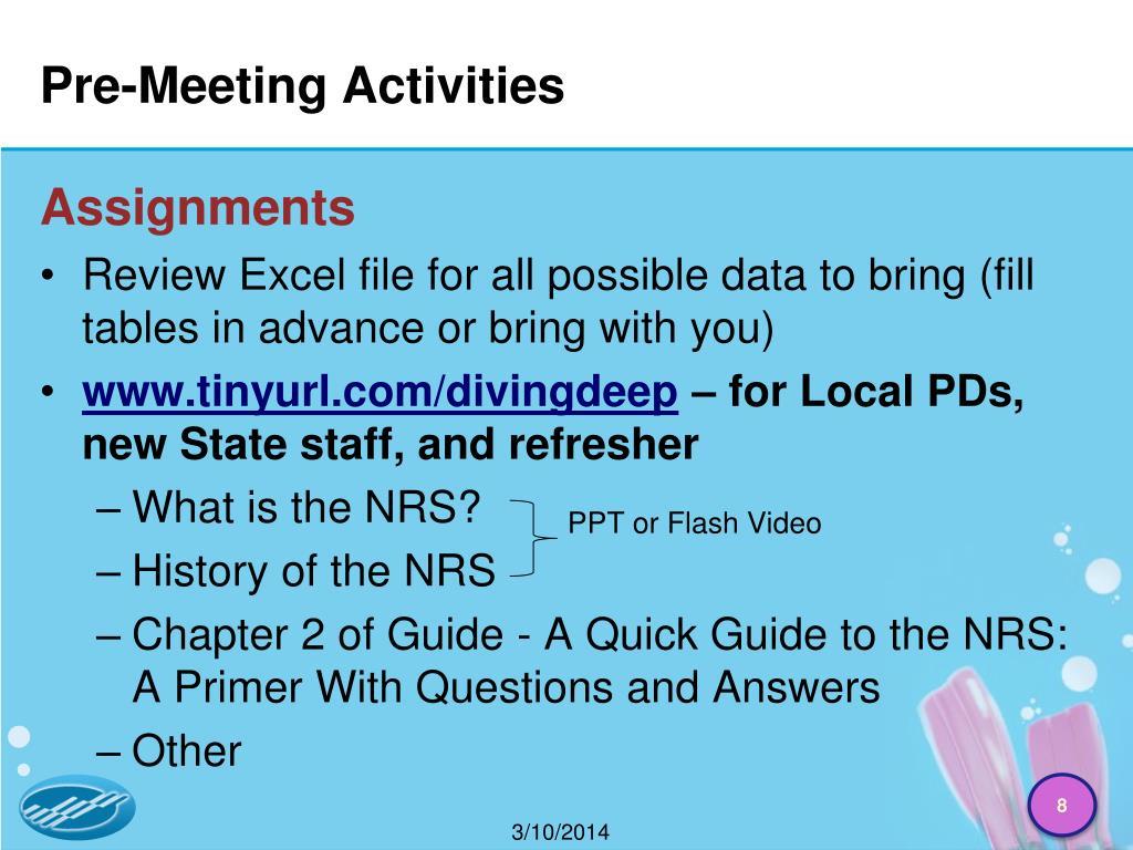 Pre-Meeting Activities
