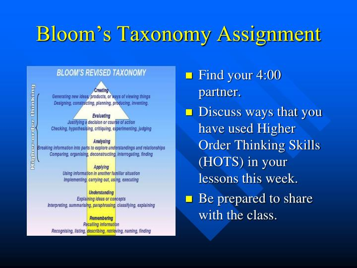 Bloom's Taxonomy Assignment