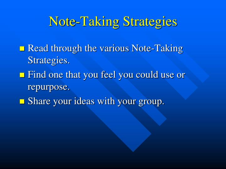 Note-Taking Strategies