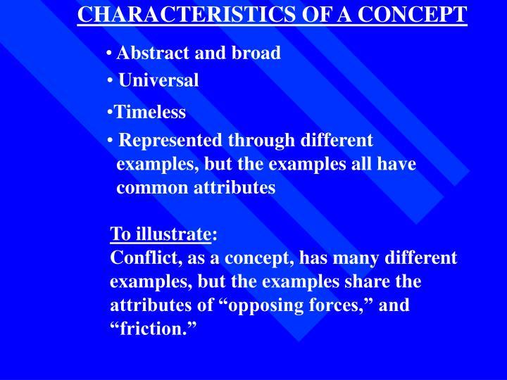 CHARACTERISTICS OF A CONCEPT