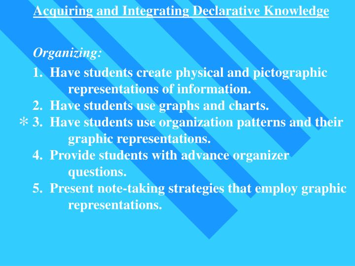 Acquiring and Integrating Declarative Knowledge