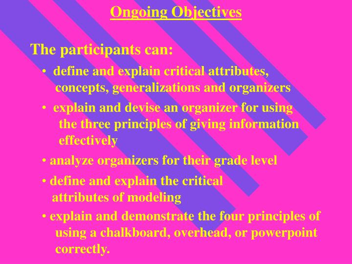 Ongoing Objectives