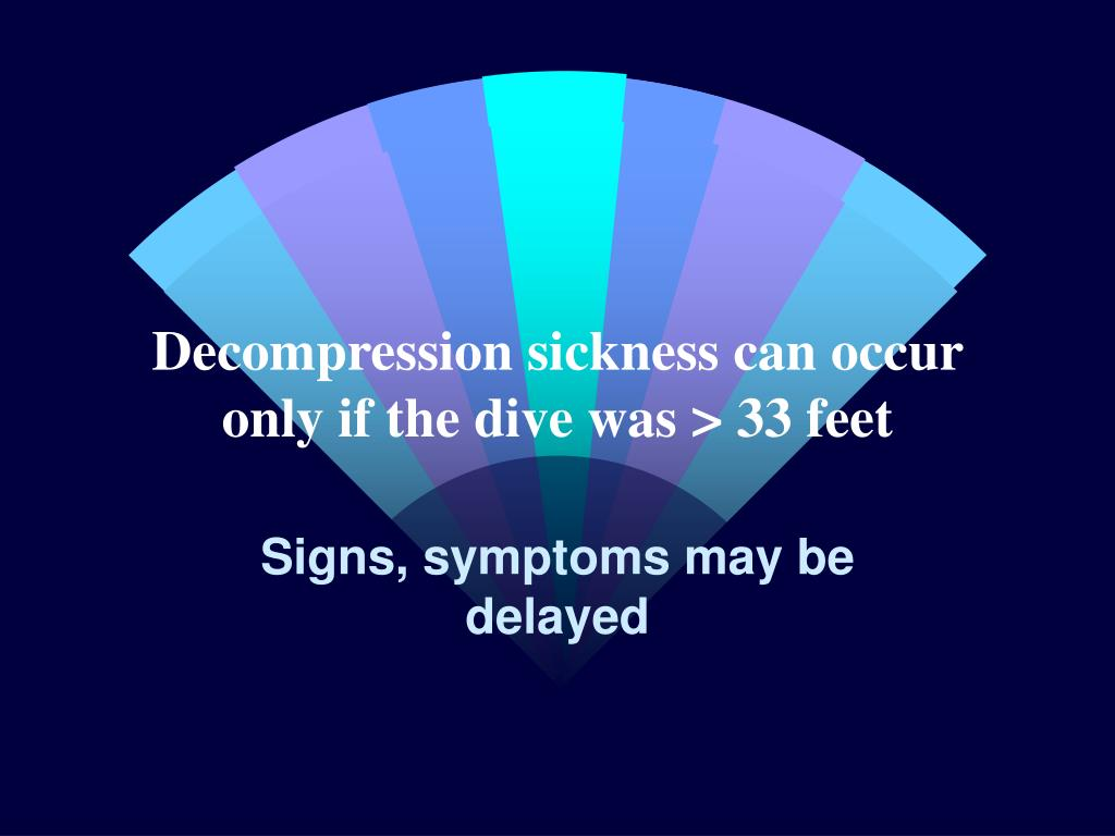 Decompression sickness can occur only if the dive was > 33 feet