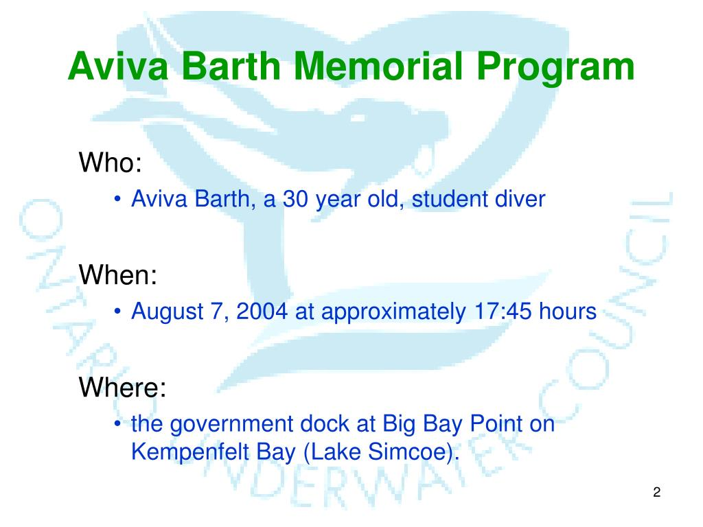 Aviva Barth Memorial Program