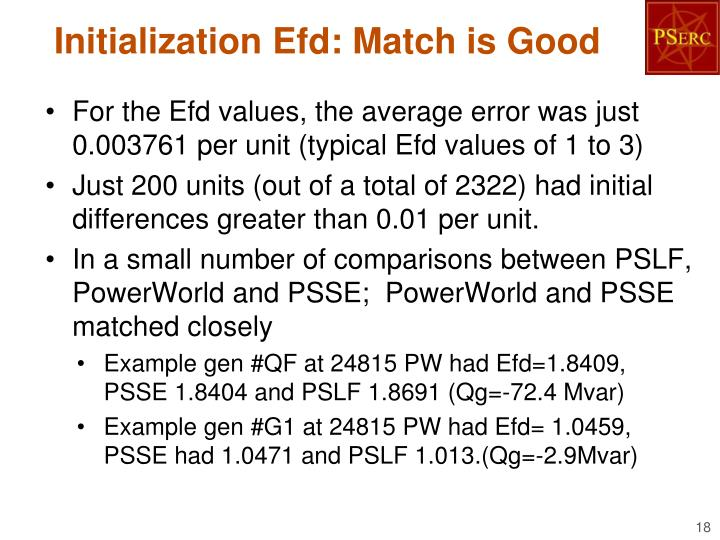 Initialization Efd: Match is Good