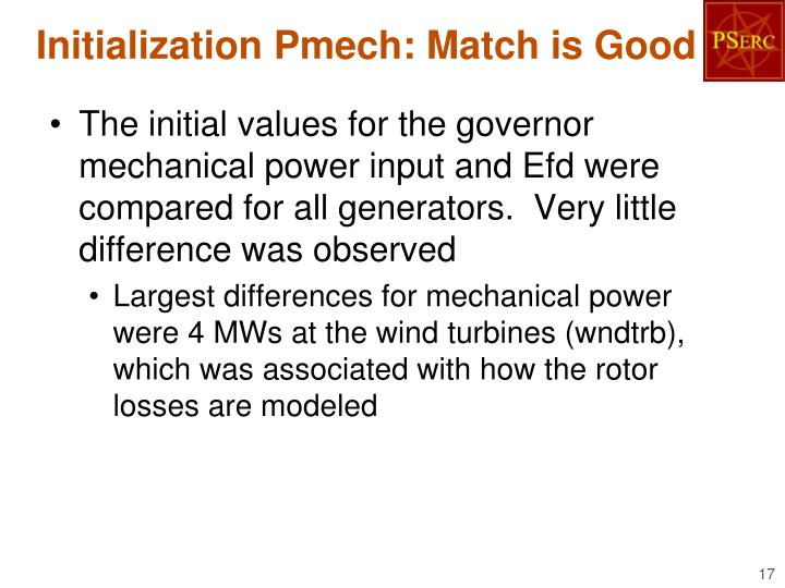 Initialization Pmech: Match is Good