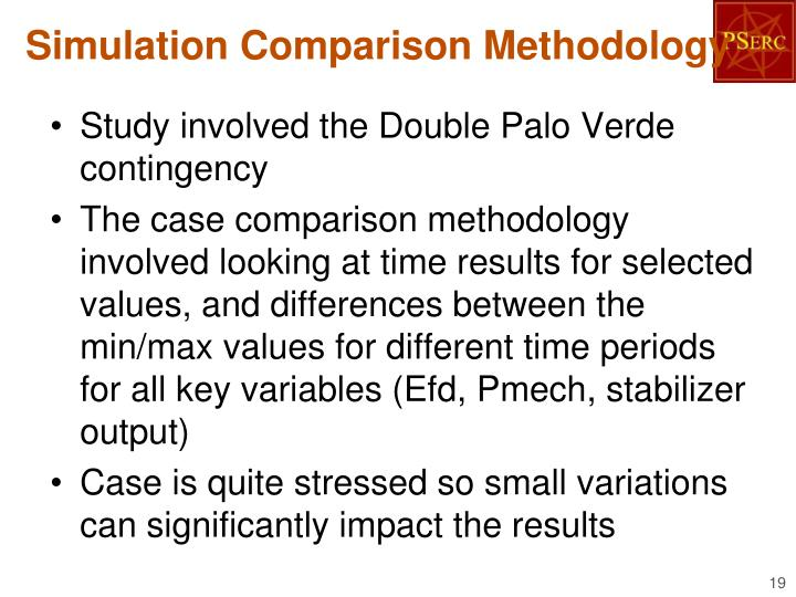 Simulation Comparison Methodology