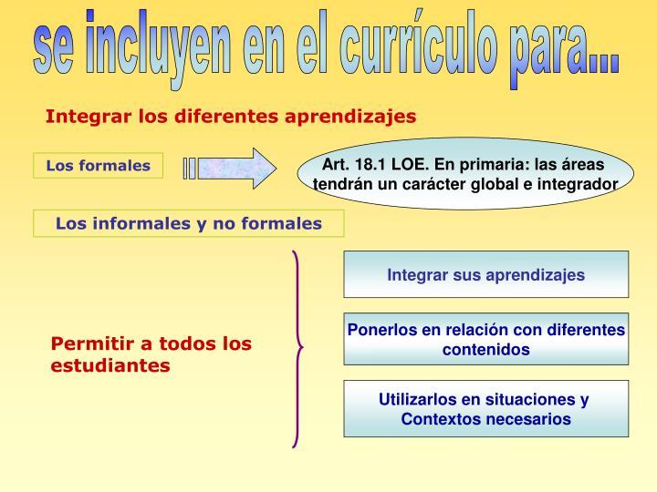 Art. 18.1 LOE. En primaria: las áreas