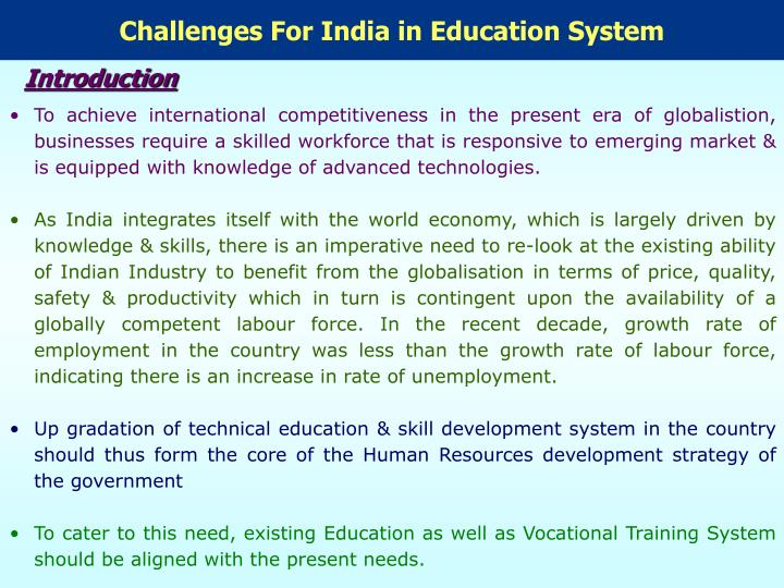 Challenges For India in Education System