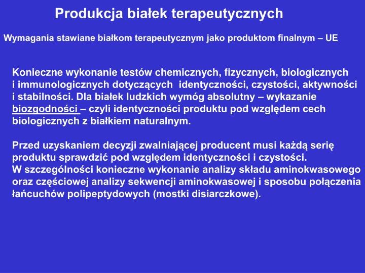 Produkcja białek terapeutycznych