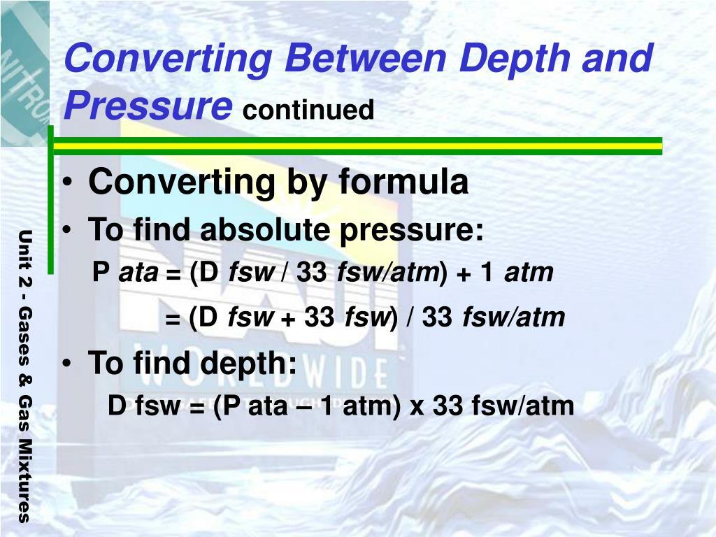 Converting Between Depth and Pressure