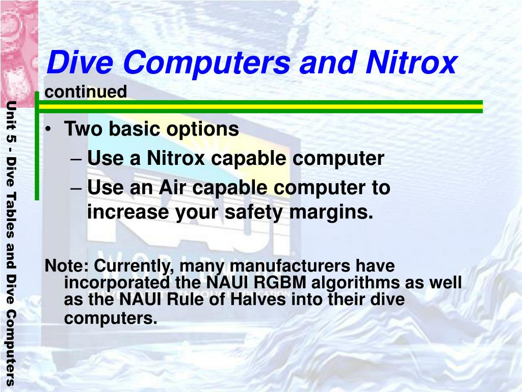 Dive Computers and Nitrox