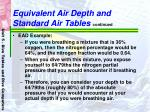 equivalent air depth and standard air tables continued